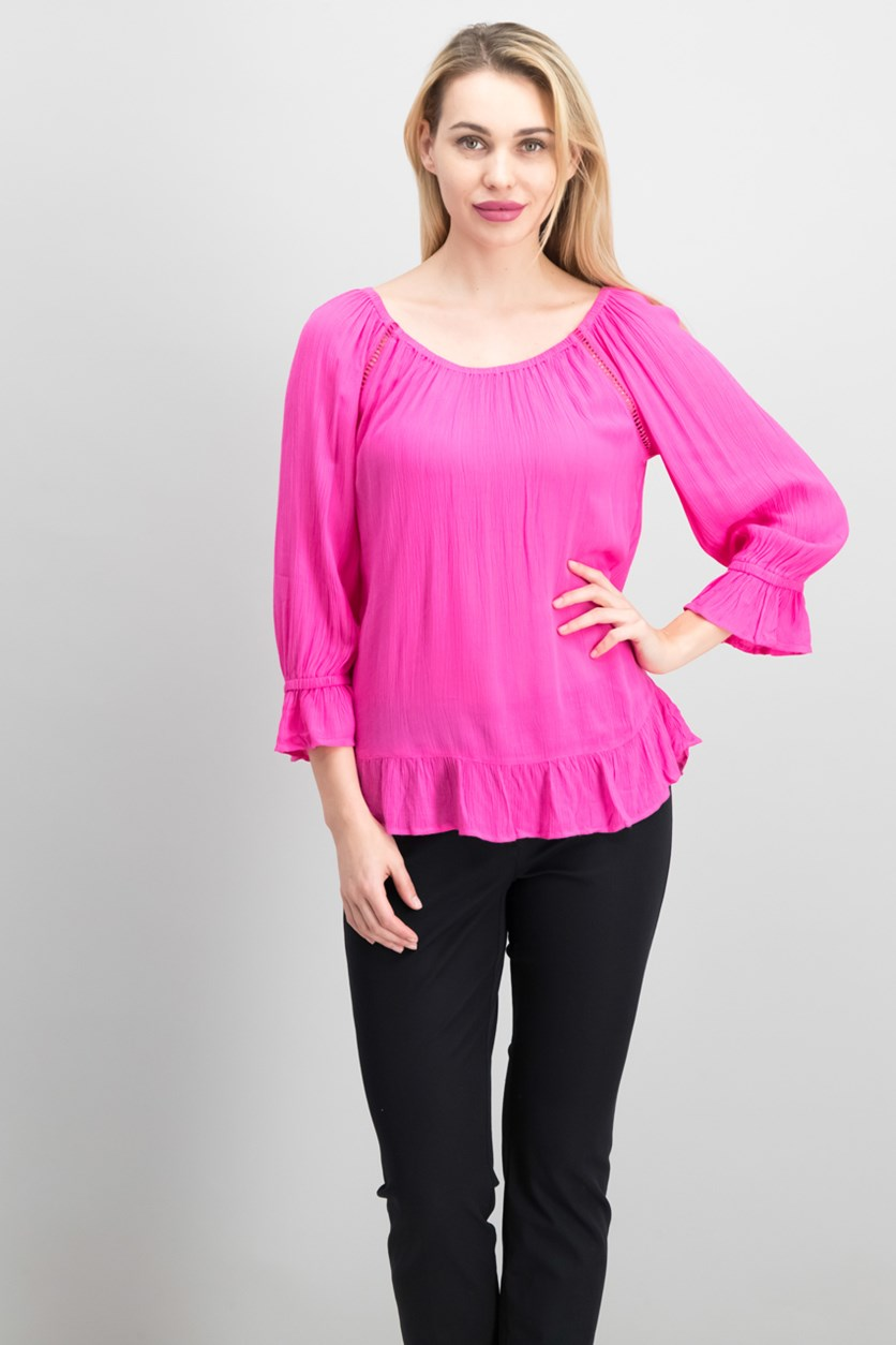 International Concepts Petite Crochet-Trim Peasant Top,  Intense Pink