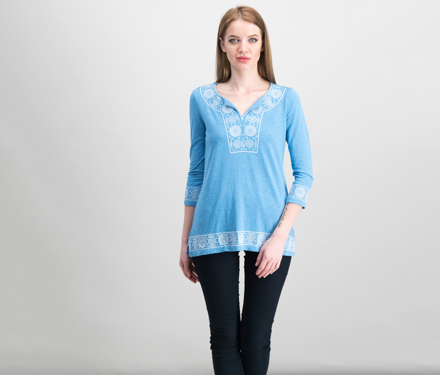Charter Club Petite Cotton Embroidered Peasant Top, Smokey Sky