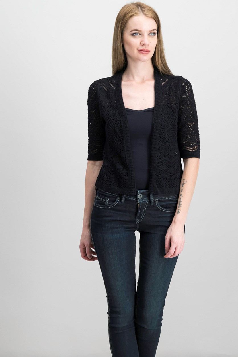 Cropped Open-Front Cardigan, Black