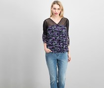 INC International Concepts Petite Floral-Print Illusion Top, Tangled Ivy