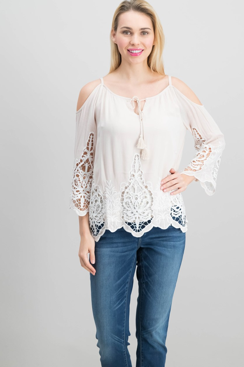 International Concepts Petite Lace Trim Off-the-shoulder Top, Sugar Beige