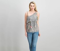 International Concepts Drab Olive Multi Off Shoulder Lace Top, Gray Combo