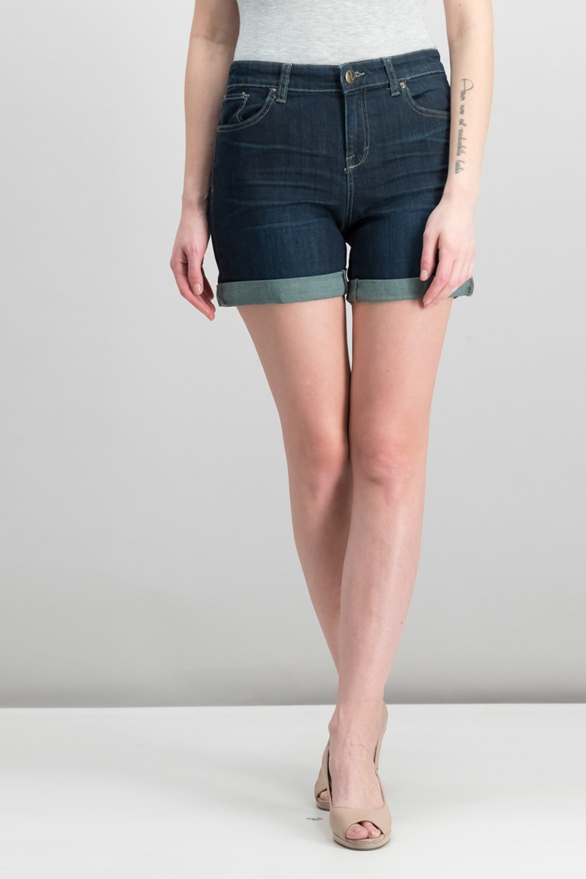 Petite Cuffed Denim Shorts, Caneel