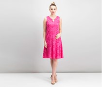 Jm Collection Floral-Lace A-Line Dress, Steel Rose