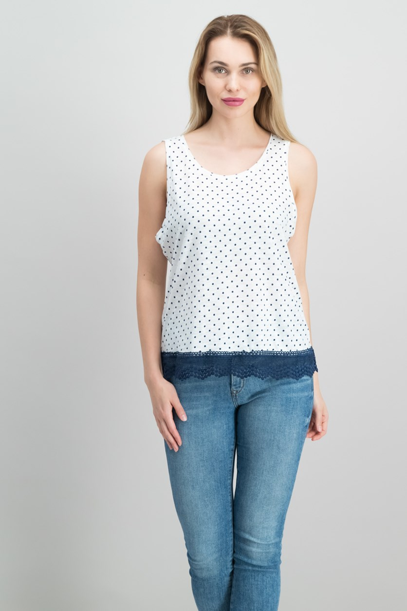 Cotton Polka-Dot Crochet-Contrast Top, Bright White Combo