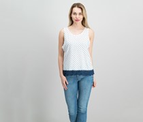 Maison Jules Cotton Polka-Dot Crochet-Contrast Top, Bright White Combo