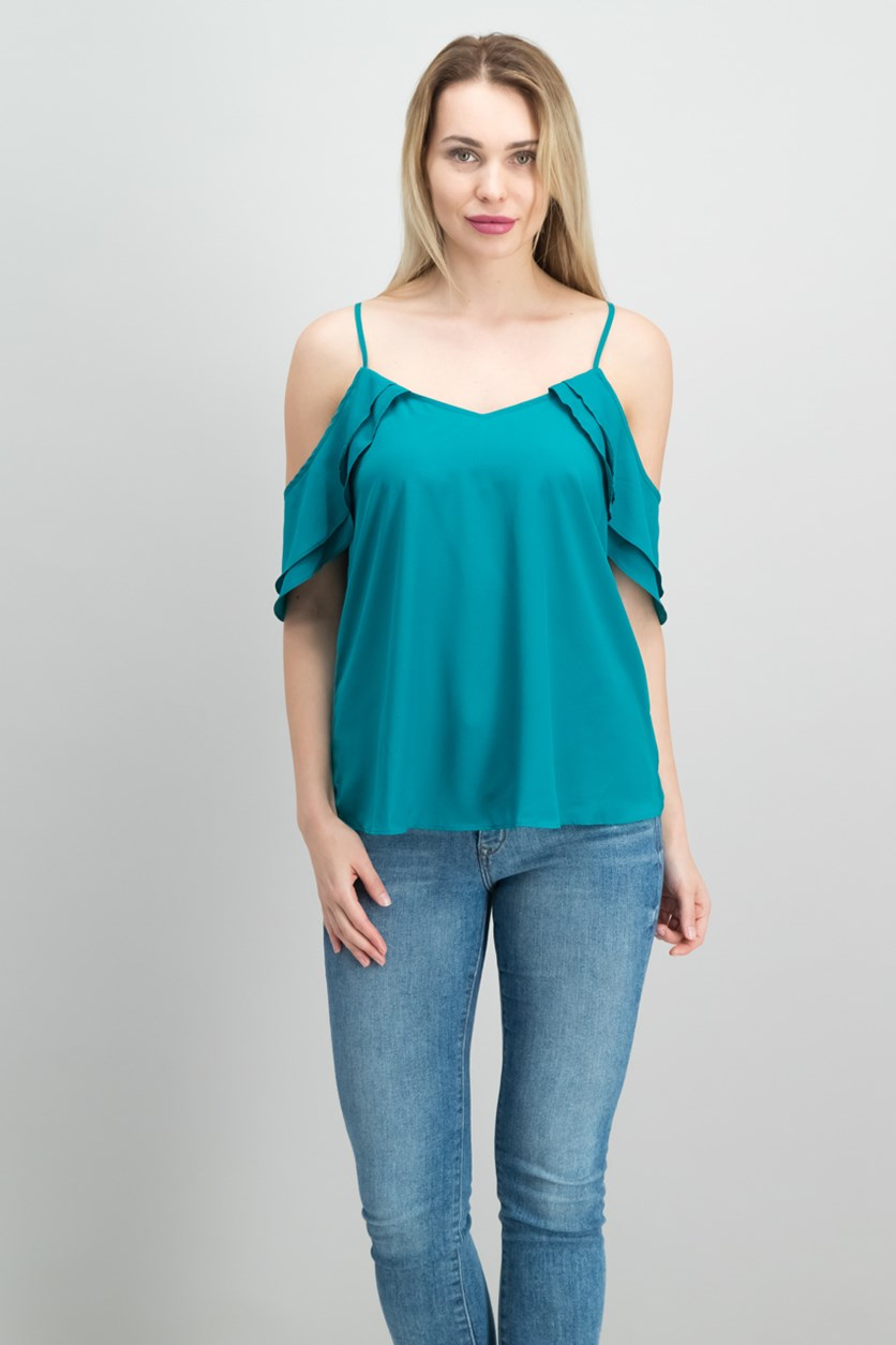 Draped Off-The-Shoulder Tank Top, Ocean Pine