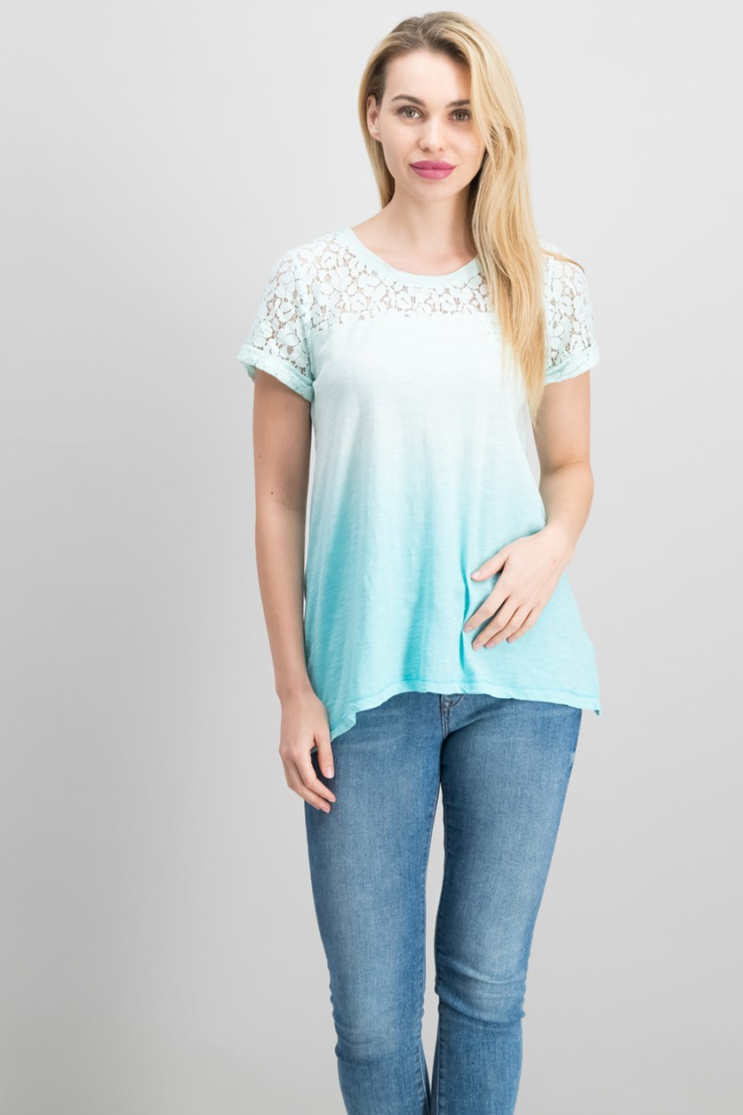 Petite Lace Dip-Dye Top, Aqua Brook