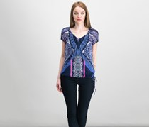 International Concepts Printed Peasant Top, Navy