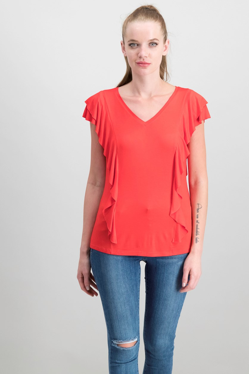 Women's Ruffled Top, Risky Red