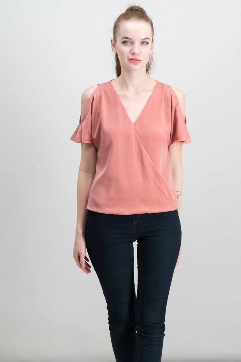 Women Cold-Shoulder Surplice Top, Bronzed Rose