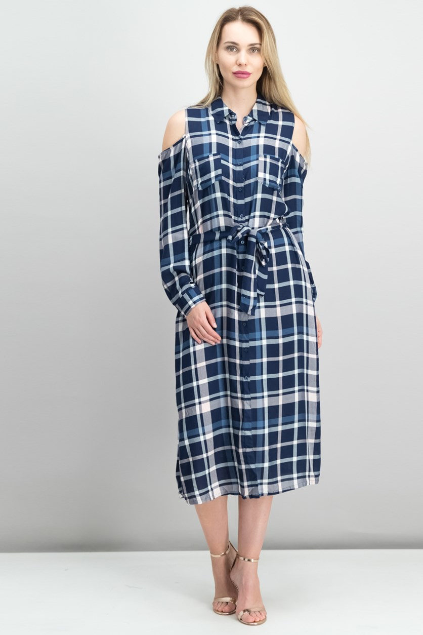 Cold-Shoulder Plaid Midi Dress, Dark Blue Combo
