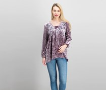 Style Co Crushed Velvet Peasant Top, Whimsy Mauve