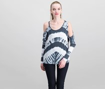 Chaser Tie Dye Cold Shoulder Top, White Combo