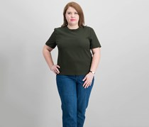 Womens Button-Back Crepe Blouse, Dark Olive Green
