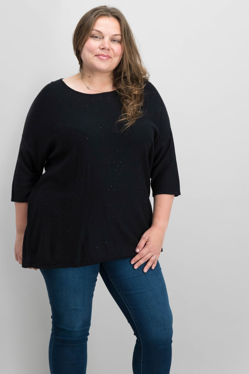 Plus Size Rhinestone Top, Black