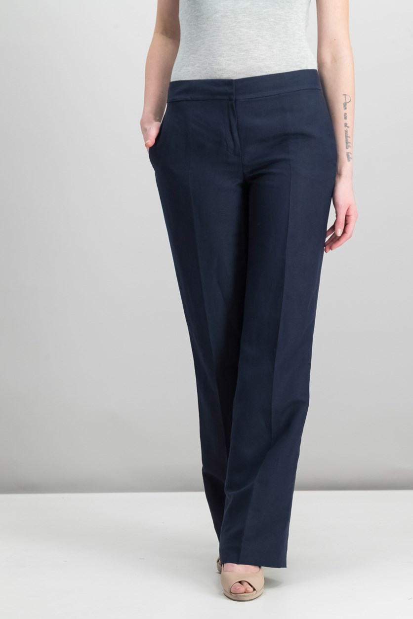 Flared-Leg Trousers, Navy