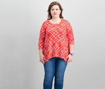Anne Klein Plus Size High-Low Top, Tomato Parchment Combo