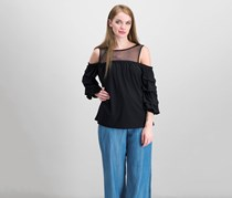 INC International Concepts Ruffled Illusion Top, Black