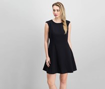 Maison Jules Cap-Sleeve Fit Flare Scuba Dress, Deep Black