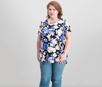 Jm Collection Plus Size Printed T-Shirt, Pool Floral Toss