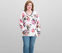 INC International Concepts Plus Size Varsity Top, Off White Combo