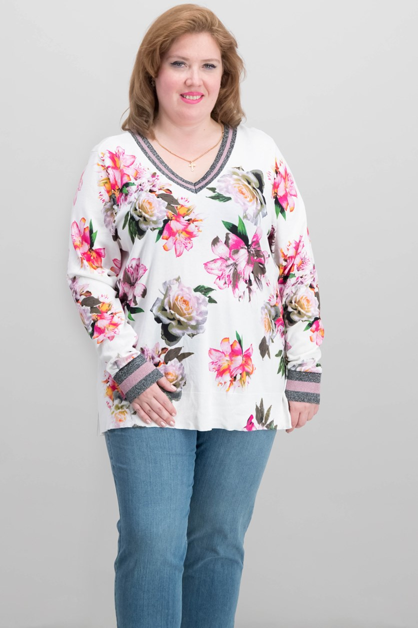 International Concepts Plus Size Varsity Top, Off White Combo