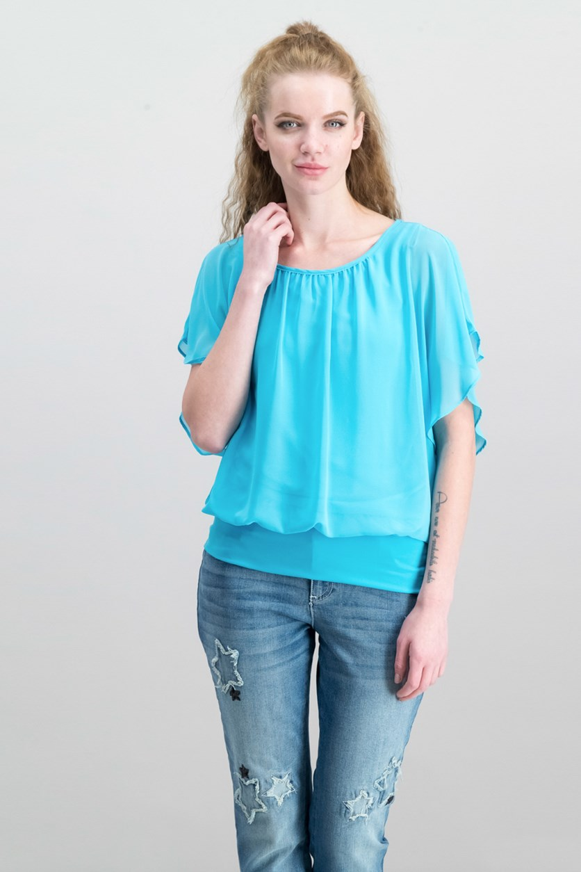 Flutter-Sleeve Top, Reef Aqua