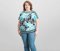 JM Collection Plus Size Embellished Tops, Aqua Island Swirl