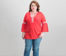 Charter Club Cotton Bell-Sleeve Peasant Top, Warm Spice