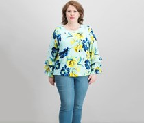 Alfani Printed Ruffle-Sleeve Blouse, Mint Nocturnal Floral