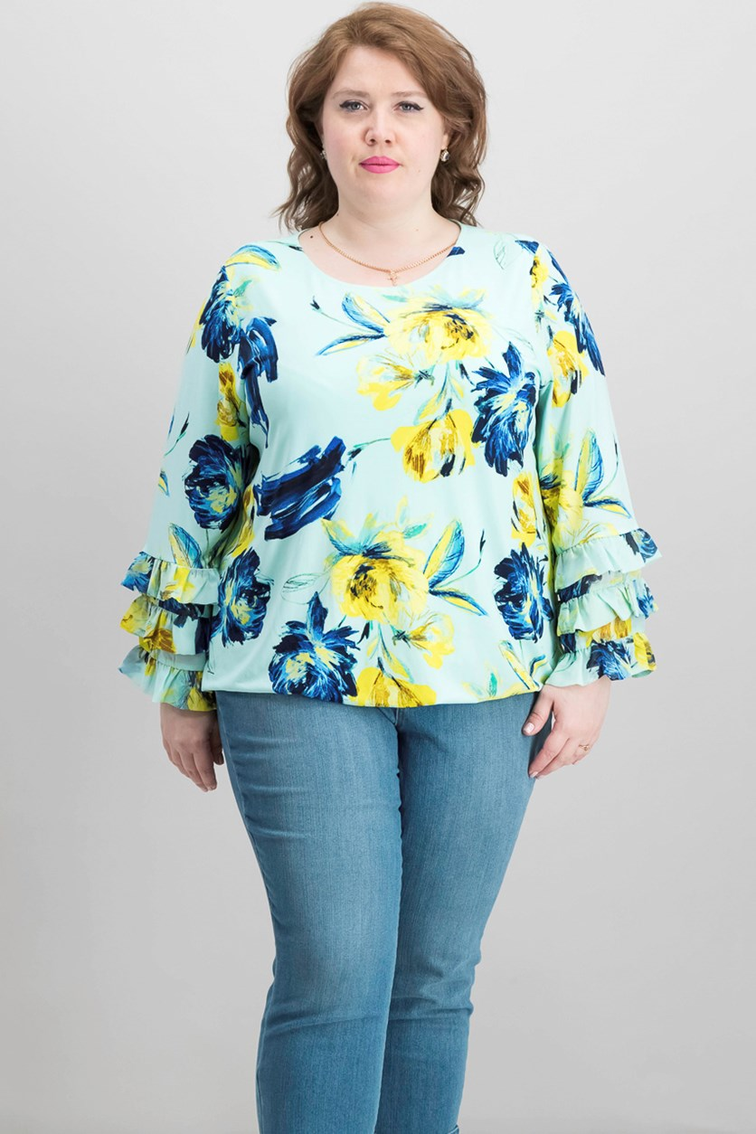 Printed Ruffle-Sleeve Blouse, Mint Nocturnal Floral