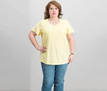 Karen Scott Plus Size Basketweave-Trim T-Shirt, Lemon Sugar