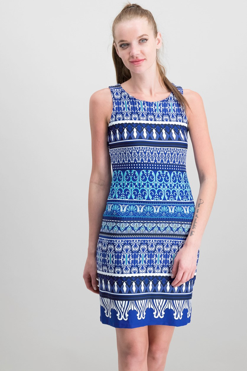Petite Printed Sheath Dress, Modern Blue Combo
