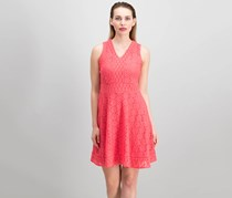 Charter Club Petite Lace Fit Flare Dress, Crushed Coral