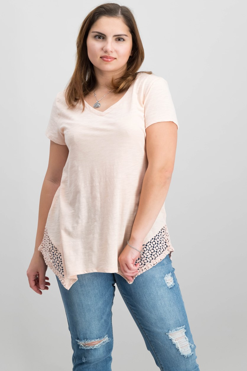 Crochet Handkerchief-Hem T-Shirt, Crushed Petal