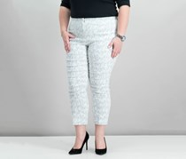 Alfani Metallic Jacquard Capri Pants, Cloud Metallic Brushstroke