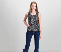 JM Collection Petite Printed Jacquard Tank, Status Brush Stroke