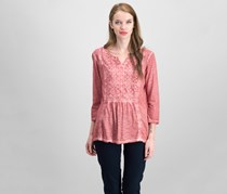 Style & Co Split Neck Top, Withered Rose