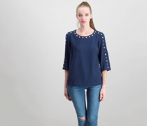 Jm Collection Petite Studded Textured Top, Intrepid Blue