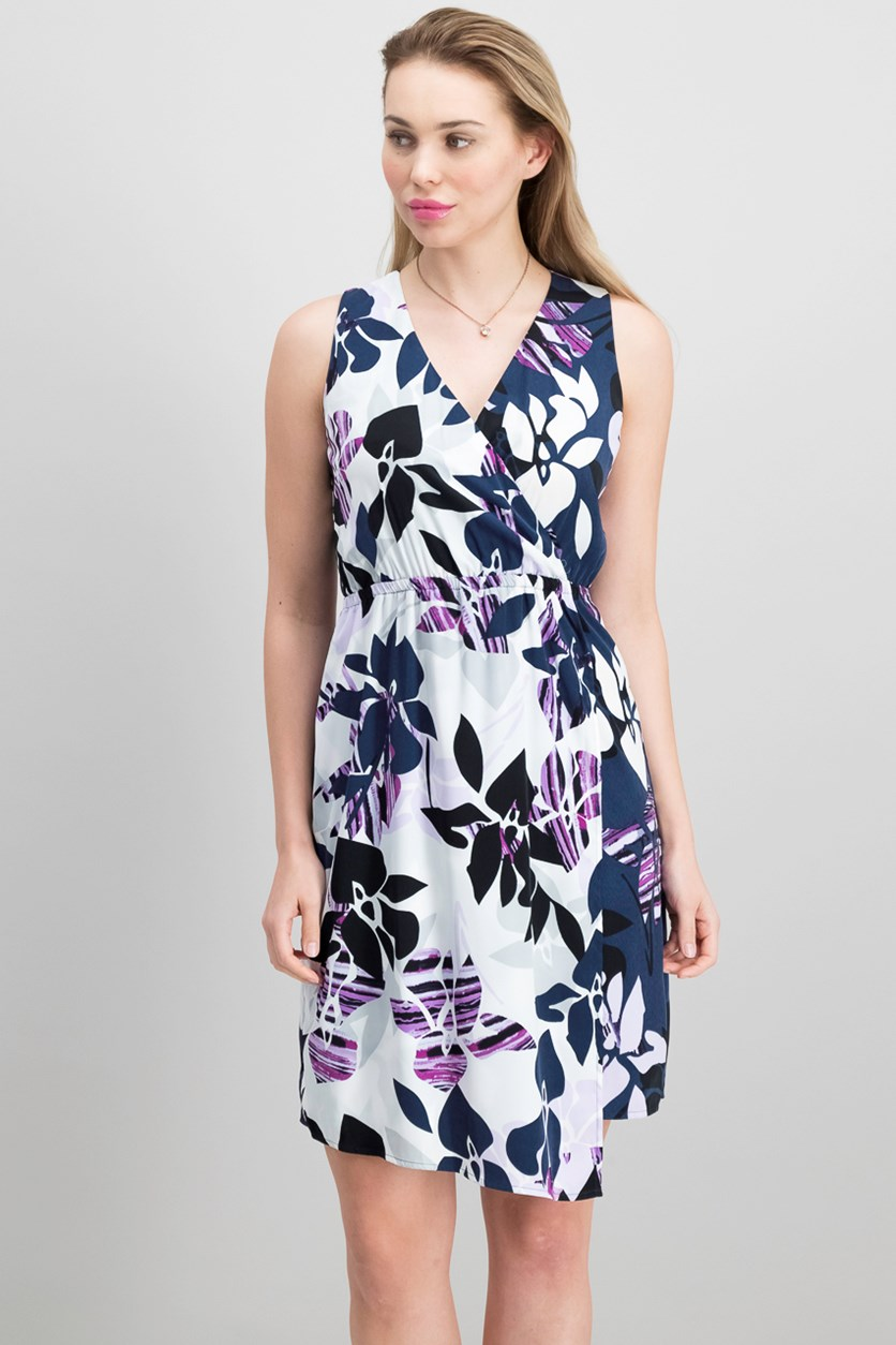 Petite Printed Faux-Wrap Midi Dress, Purple Tropical