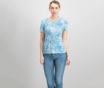 JM Collection Women's Petite Printed Top, Blue Combo