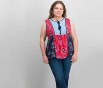 Style Co Plus Size Mixed-Print Sleeveless Tops, Blue Patches