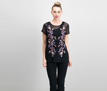 Inc International Concepts Embroidered Mesh Top, Deep Black