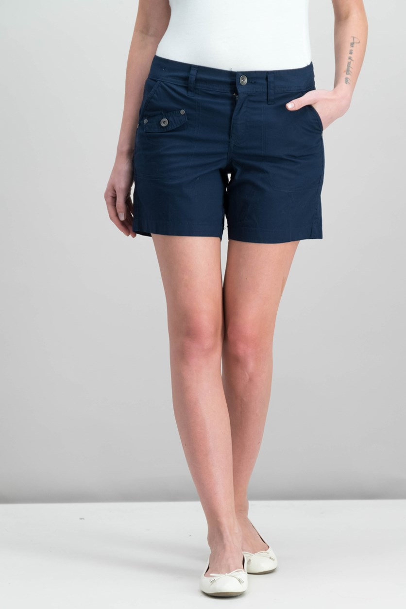 Style Co Petite Flap-Pocket Shorts, Industrial Blue