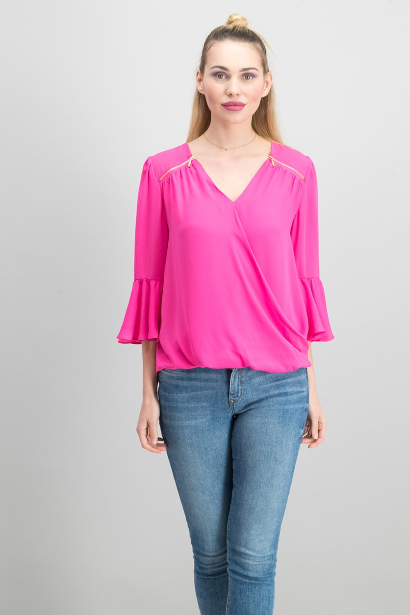 Zip-Detail Surplice Top, Intense Pink