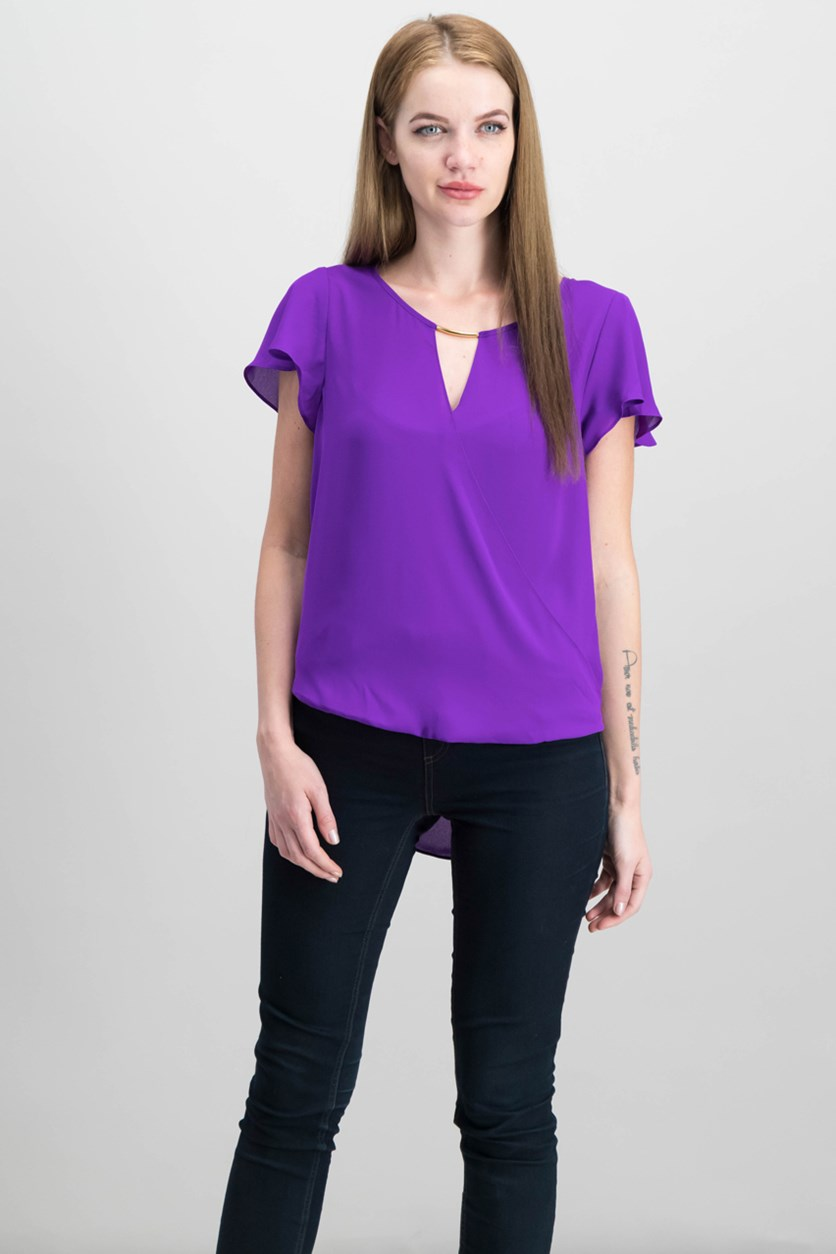 High-Low Hardware-Detail Top, Vivid Purple