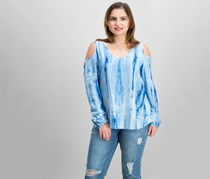 Karen Kane Women's Tie Dye Cold Shoulder Top, Blue
