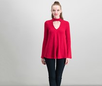 Karen Kane Mock-Neck Cutout Top, Red