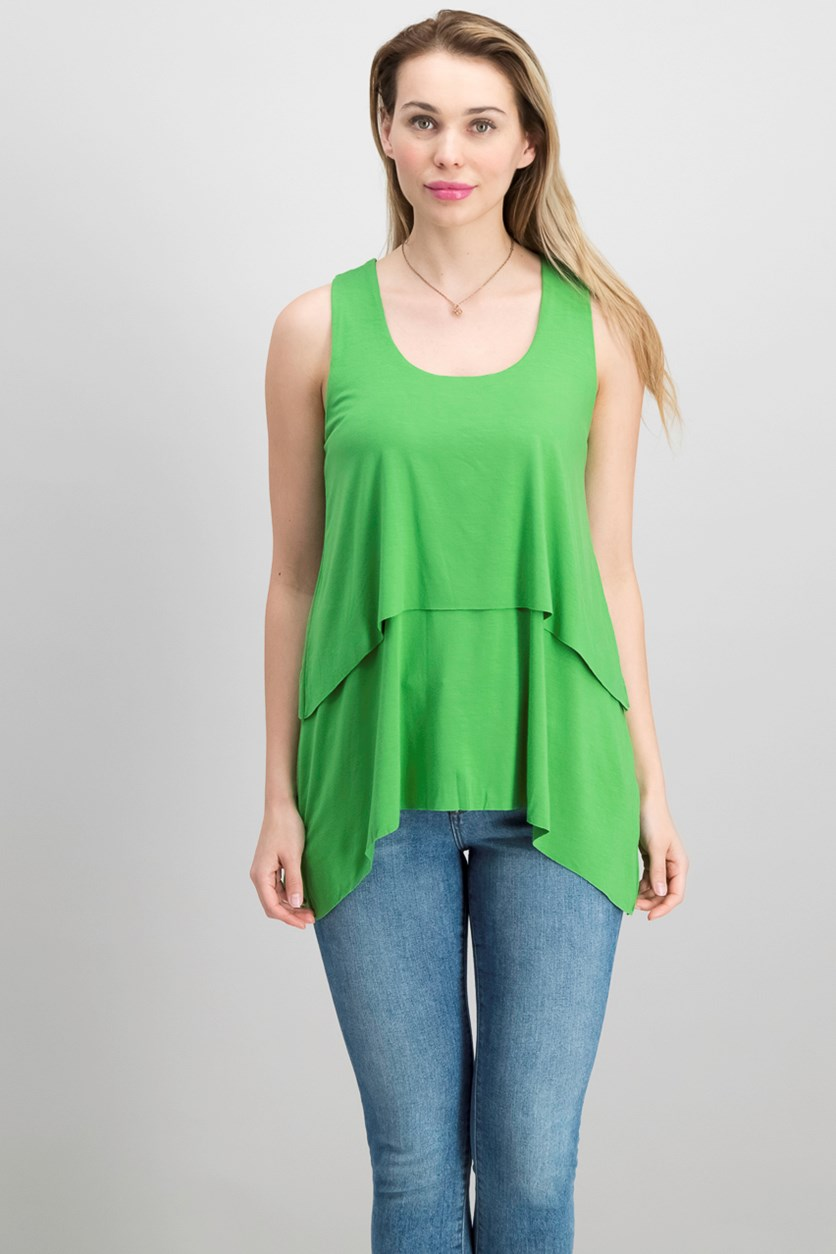 Tiered Handkerchief-Hem Top, Grass